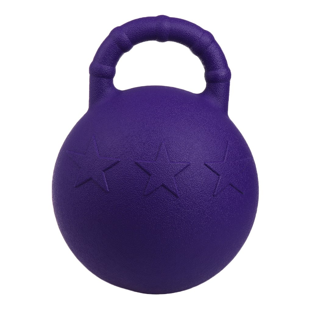 Kesoto 28Cm Equine Sports Rubber Jolly Ball Apple Scented Horse Chew Play Toy with Handle Purple