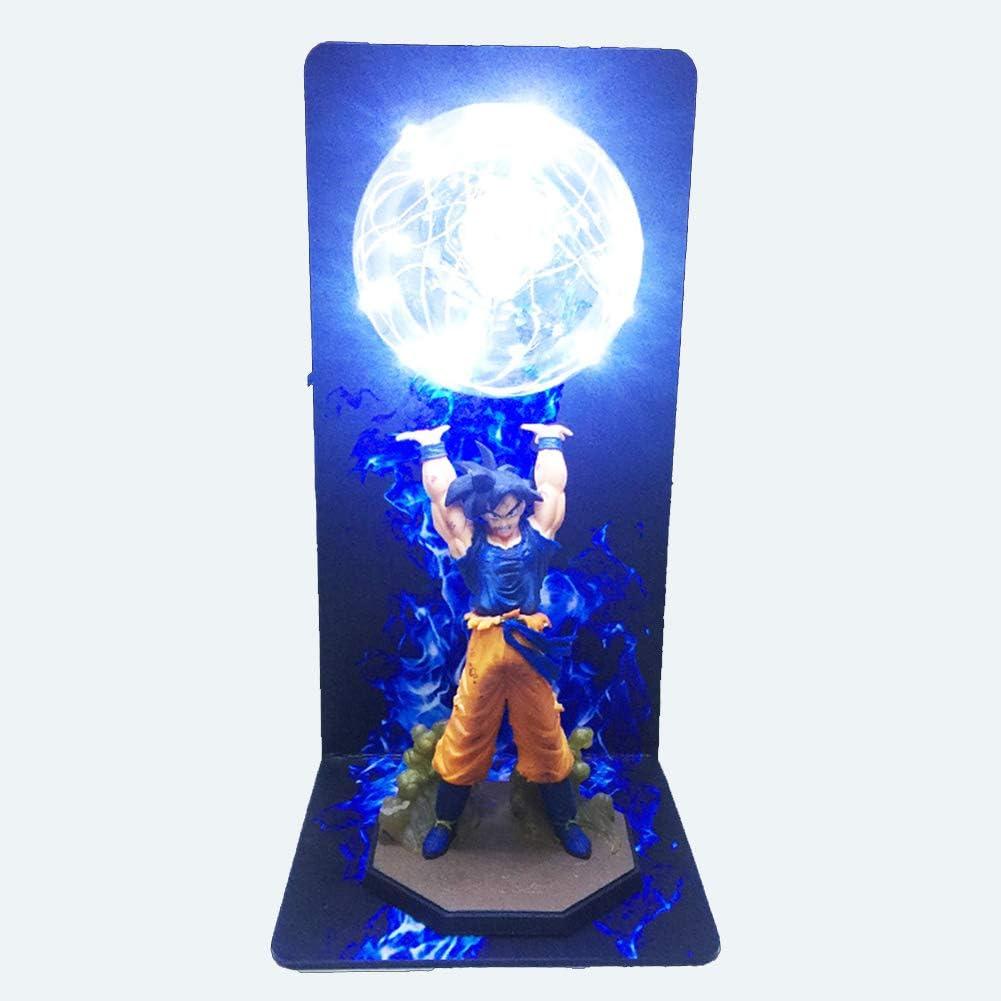 Compleanno per Bambini Natale Regalo di San Valentino,Blu WANJIAJIA Lampada da Tavolo Salotto Dragon Ball Z Super Action Figures Spirit Bomb Decorazioni Casa