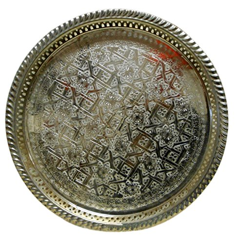 Moroccan Tea Tray Serving Cocktail Silver Handmade Fez Large Round