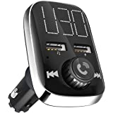 Bluetooth FM Transmitter, GRDE Wireless Bluetooth Stereo Receiver FM Radio Adapter Car Kit with Dual USB Car Charger, TF Card Slot and Large LED Display