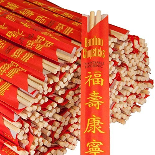 RG RG500 Paper Premium Disposable Bamboo Chopsticks Sleeved and Seperated (500)