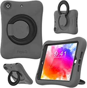 PEPKOO Kids Case for iPad Mini 1 2 3 – Lightweight Flexible Shockproof, Folding Handle Stand, Full Body Rugged Boys Girls Cover for Apple iPad Mini 1st Generation 2nd Gen 3rd Gen 7.9 inch, Gray Black