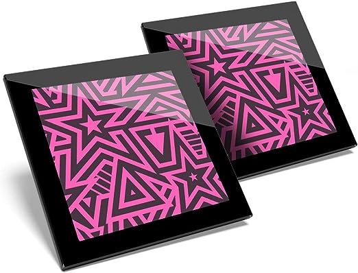 Impresionante juego de 2 posavasos de cristal, diseño de estrellas, color rosa intenso, para niñas, adolescentes, niños, calidad brillante, protección para cualquier tipo de mesa #14669: Amazon.es: Hogar