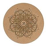 Nanle Cork Yoga Mat 3mm Thick Round Natural Rubber Non-Slip Printing Mat Mat