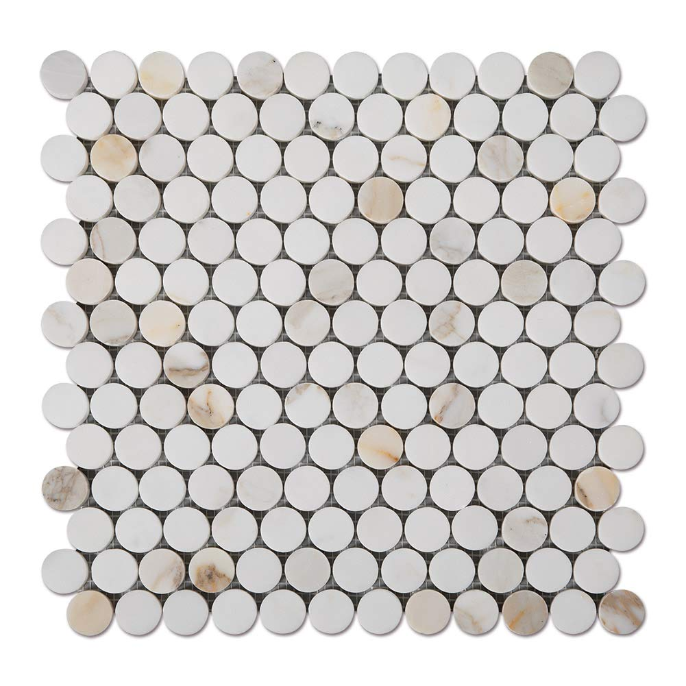 Diflart Calacatta Gold 1 inch Penny Round Marble Mosiac Tile for Kitchen Backsplash Bathroom Wall Shower Floor Polished Pack of 5