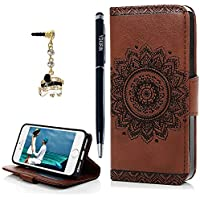 iPhone 5 Case, iPhone 5S Case, YOKIRIN PU Leather Dream Catcher 3D Relief Totem Embossed Folio Flip Full Protective Cover with Credit Card Holder Kickstand Magnetic Closure for iPhone 5/5S,Brown