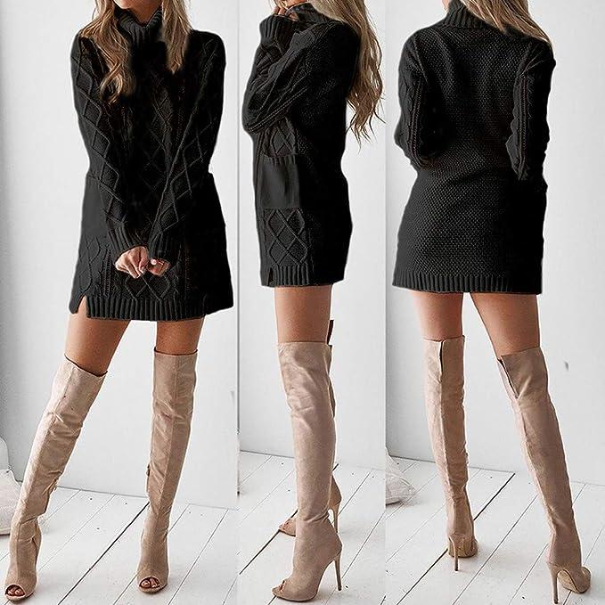 Robe hiver femme, modèle sexy et élégant, robe tricotée col roulé et manches longues