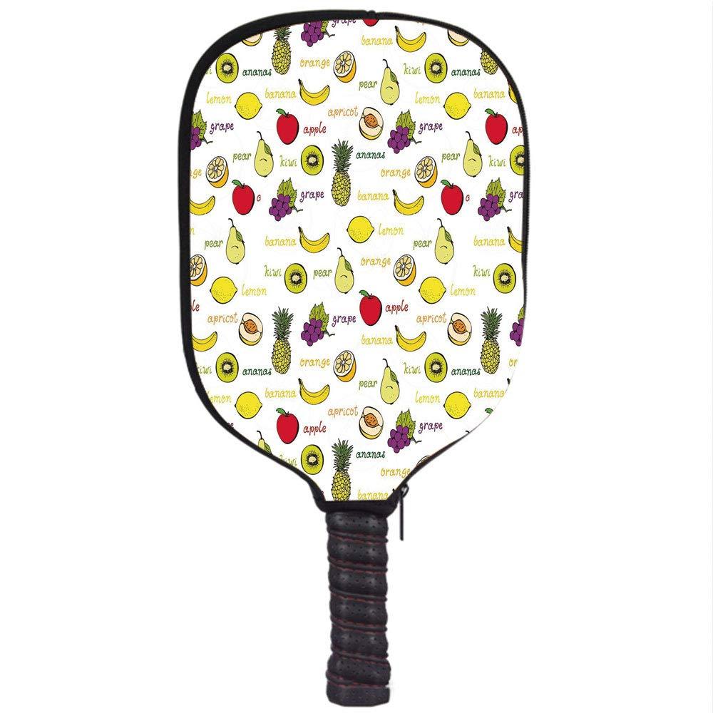 Amazon.com : Neoprene Pickleball Paddle Racket Cover Case, Fruits, Kiwi Banana Plums Lemon Orange Pear Grape Apricot Kitchen Food Print Decorative, ...