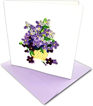 Handmade Quilled Paper Greeting Card Basket of Flowers NEW Quillin Cards