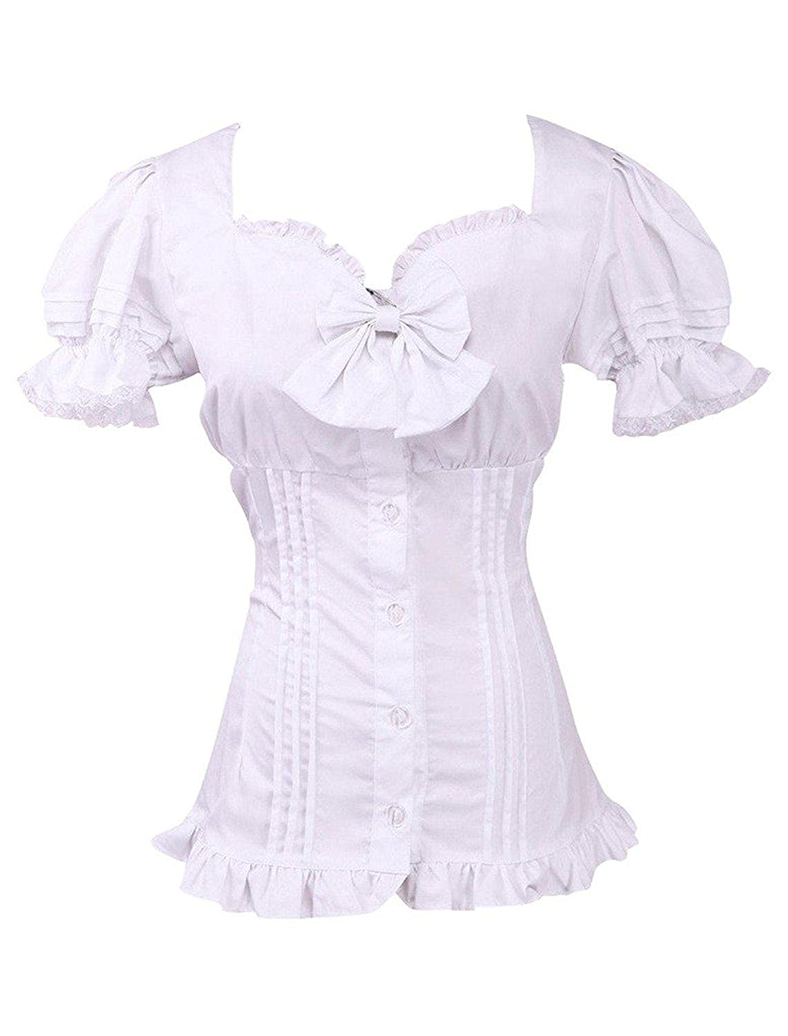 Cemavin Cotton Black and White Ruffle Lolita Blouse