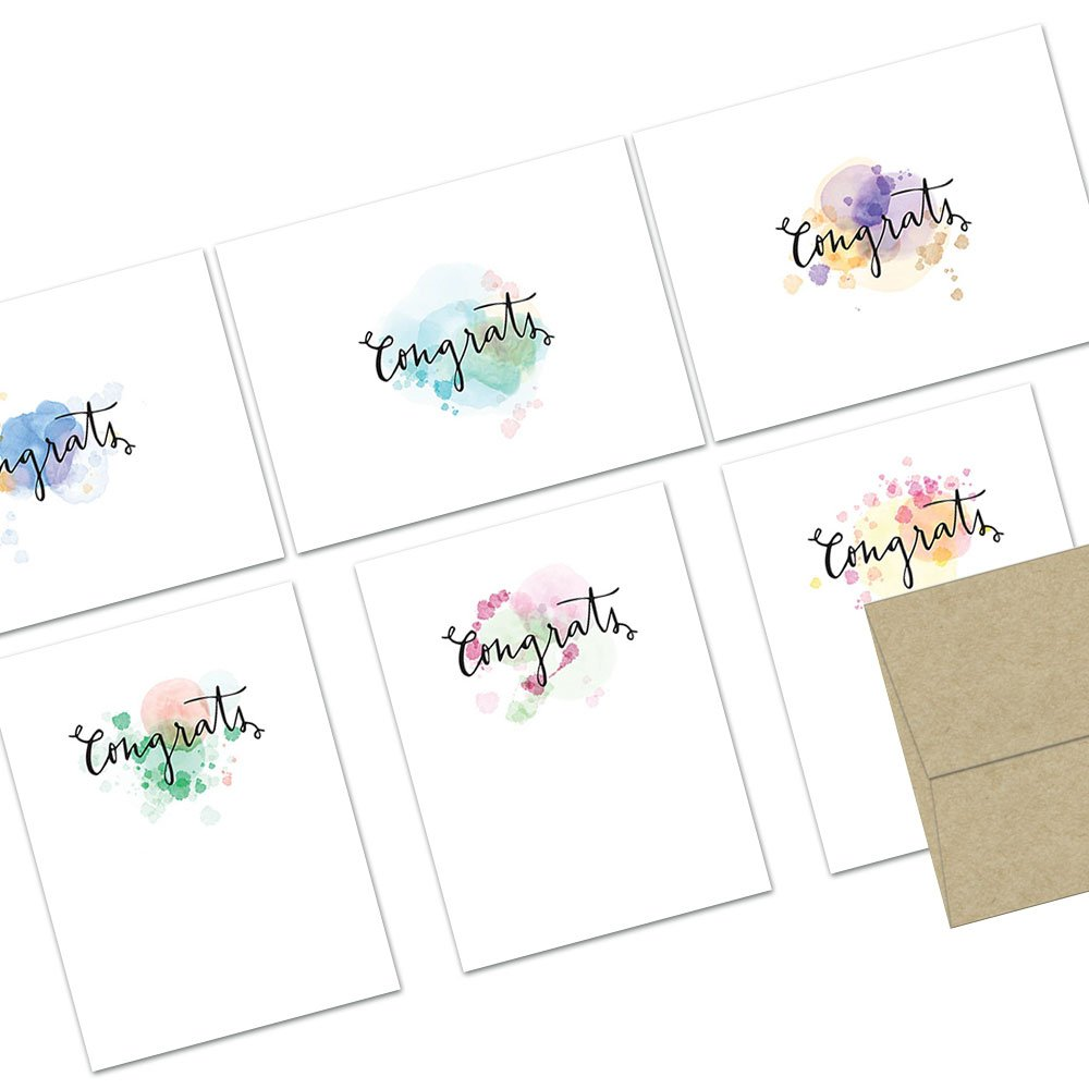 72 Note Cards - Watercolor Hand Lettered Congrats - Blank Cards - Kraft Envelopes Included
