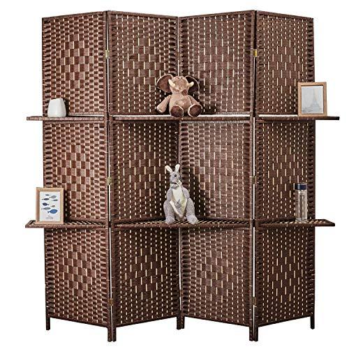 Cocosica Weave Fiber Room Divider, Natural Fiber Folding Privacy Screen with Removable Display Shelves,4 Panel Room Screen Divider for Bedroom, Living Room, Office(Dark Mocha)