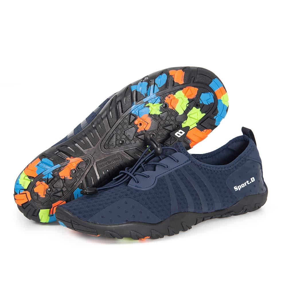 YALOX Water Shoes Men's Women's Outdoor Beach Swim Aqua Socks Quick-Dry Barefoot Shoes for Surfing Yoga Pool Exercise(8080-Blue,44EU) by YALOX (Image #4)