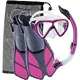 Cressi BONETE SET, Adult Set (Mask, Snorkel, Fins) for Swimming and Snorkeling - Cressi: Quality Since 1946