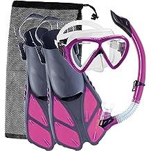 Cressi BONETE SET, Mask Fin Snorkel Adult Snorkeling Set with Bag - Cressi: Quality Since 1946