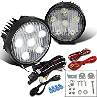 2X 18W 6 LED Round 4X4 Offroad SUV 4WD Flood Work Fog Lights+Switch+Wiring