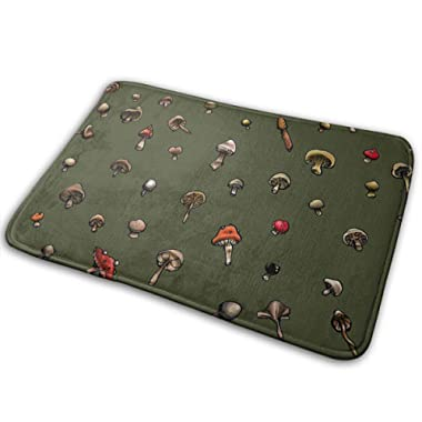 DENETRI DYERHOWARD Bath Mat Mushroom Pattern Green Non Slip Bath Rug Washable Bathroom Soft Kitchen Floor Door Mat