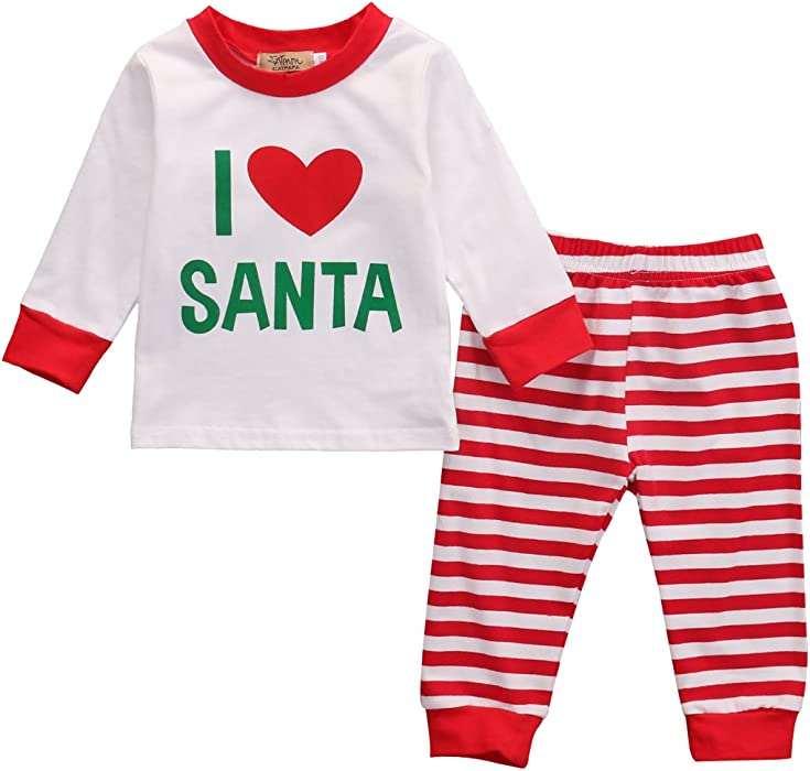 Infant Toddler Newborn 2 PCS/Set Xmas Pajamas Set I Love Santa Top+ Stripe Pants