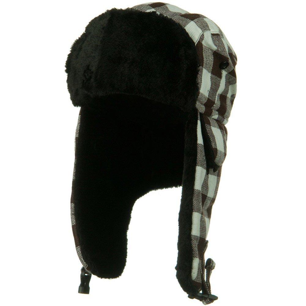 チェッカーパターンTrooper Hat – ブラウンホワイト   B005R1TV66