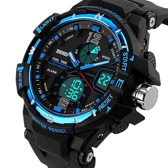Reloj Deportivo para Hombre Relojes Deportivos Impermeable, Cuarzo analógico-Digital Militar, con Pulsera