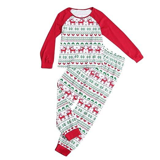 ce1003fe12 FEDULK Holiday Family Matching Christmas Pajamas Dad Mum Kids Reindeer  Print Sleepwear Nightwear Pjs Sets(