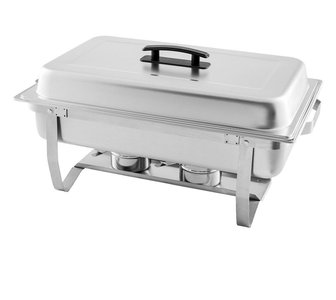 TigerChef 8 Quart Full Stainless Steel Chafer with Folding Frame and Cool-Touch Plastic Handle (1)