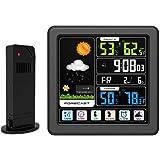 KKmoon Tela LCD colorida sensível ao toque, estação meteorológica sem fio, despertador, termômetro interno e externo Higrômet