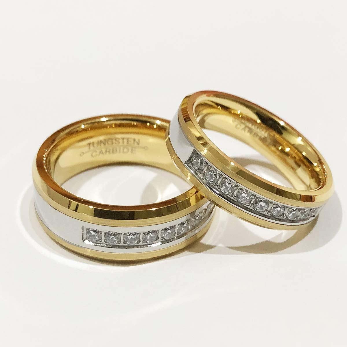 TIANYI 6//8mm Gold Plated Men Women Wedding Ring Tungsten Carbide Matching Ring CZ Inlay