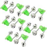 Honbay 20 Pcs Fishing Rod Alarm Dual Alert Bells Green Silver Tone