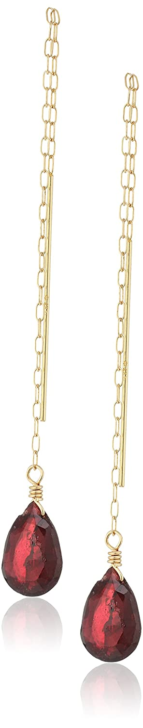 Handmade 14k Gold Elongated Cable Chain Thread with Garnet Teardrop Dangle Earrings