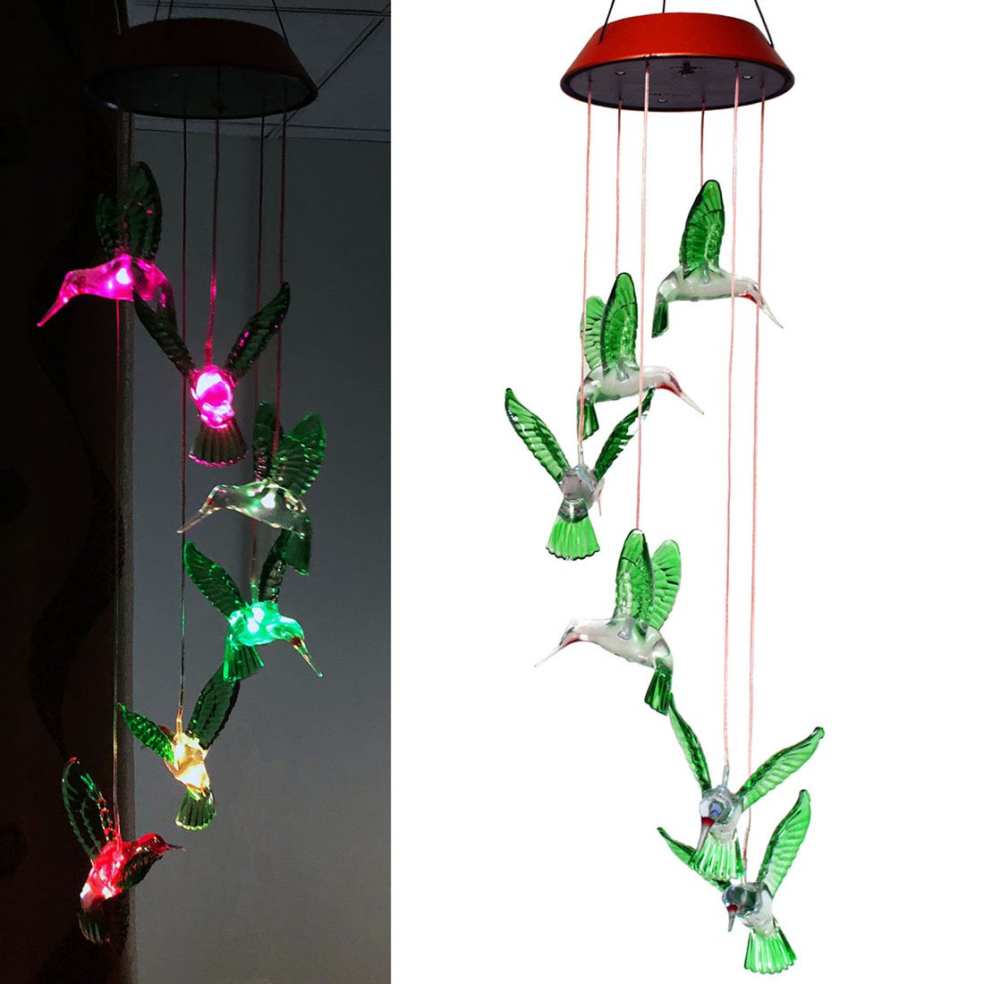Viewpick Solar Wind Chime Color Changing Six Hummingbird Solar/USB Charging Mobiles Light Wind Bell For Home Party Garden Decoration