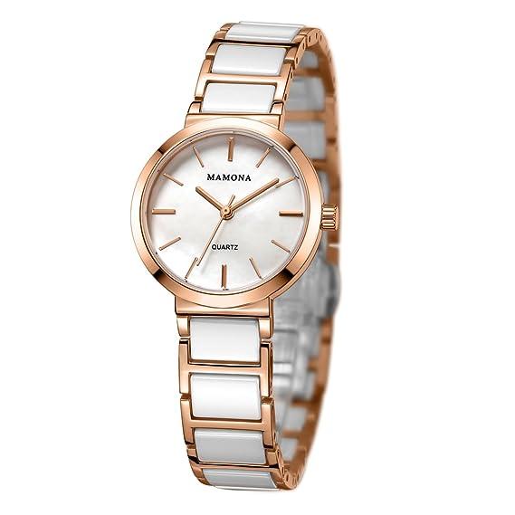 new product e4f27 23fd9 Mamona 婦人向けクオーツゴールド・セラミック腕時計ステンレス L3876RG (ゴールド)