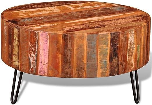 vidaXL Couchtisch Recyceltes Massivholz Kaffeetisch Beistelltisch Metallkorb
