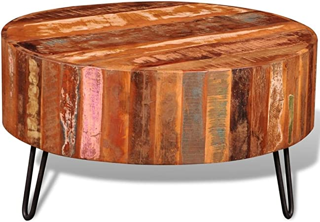 Vidaxl Table Basse Ronde Bois Solide Recycle Multi Couleur Table
