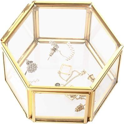 Wohlstand Caja de almacenaje Joyero de Vidrio Caja de Cristal para joyería de Ornamento, Caja de Cristal con diseño de Flores, Caja Decorativa (pequeña): Amazon.es: Joyería