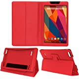 Acm Executive Case for Micromax Canvas Tab P681 Tablet Front & Back Flip Cover Stand Red
