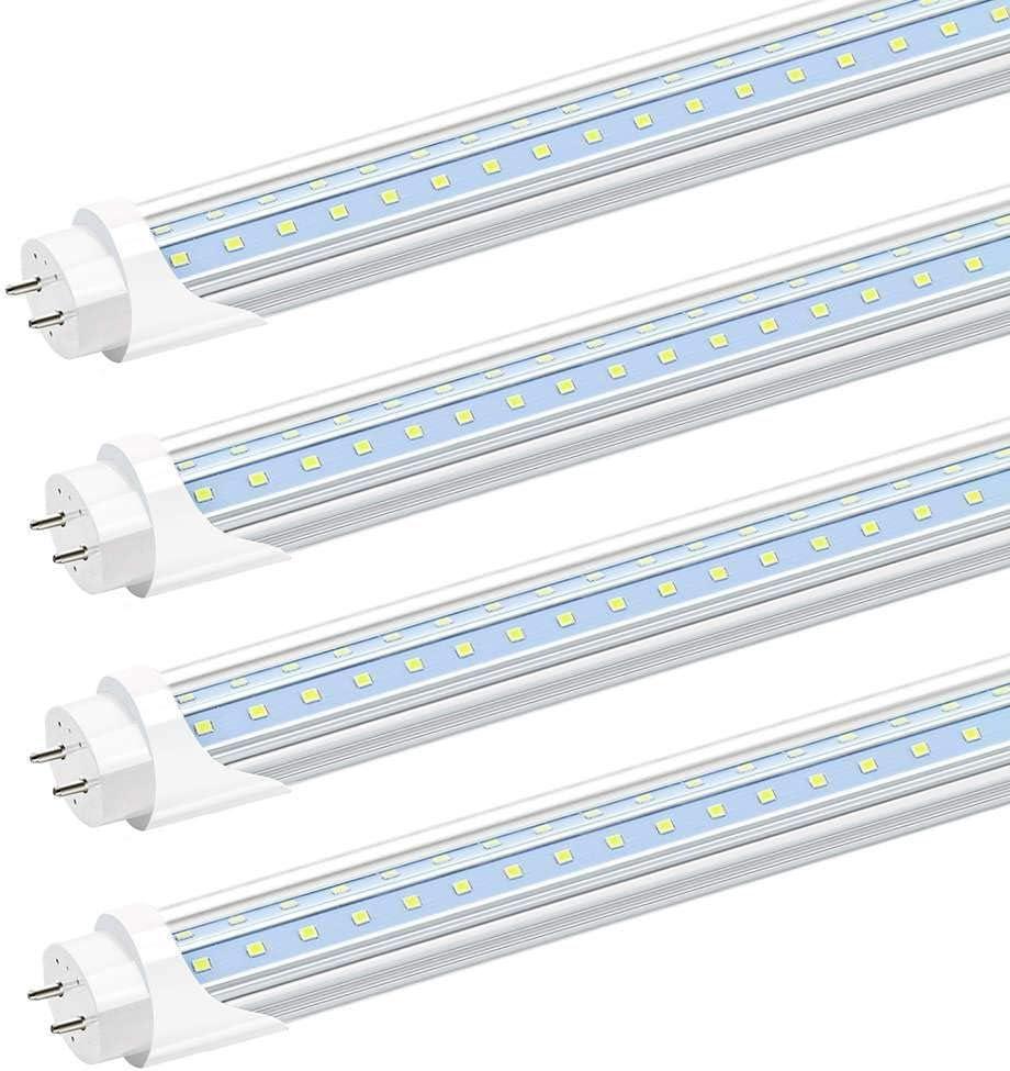 LEDVero 4x LED SMD r/églettes lumineuses LED en blanc chaud 8W 800lm- pr/êt pour linstallation T8 G13 couvercle laiteux 60 cm