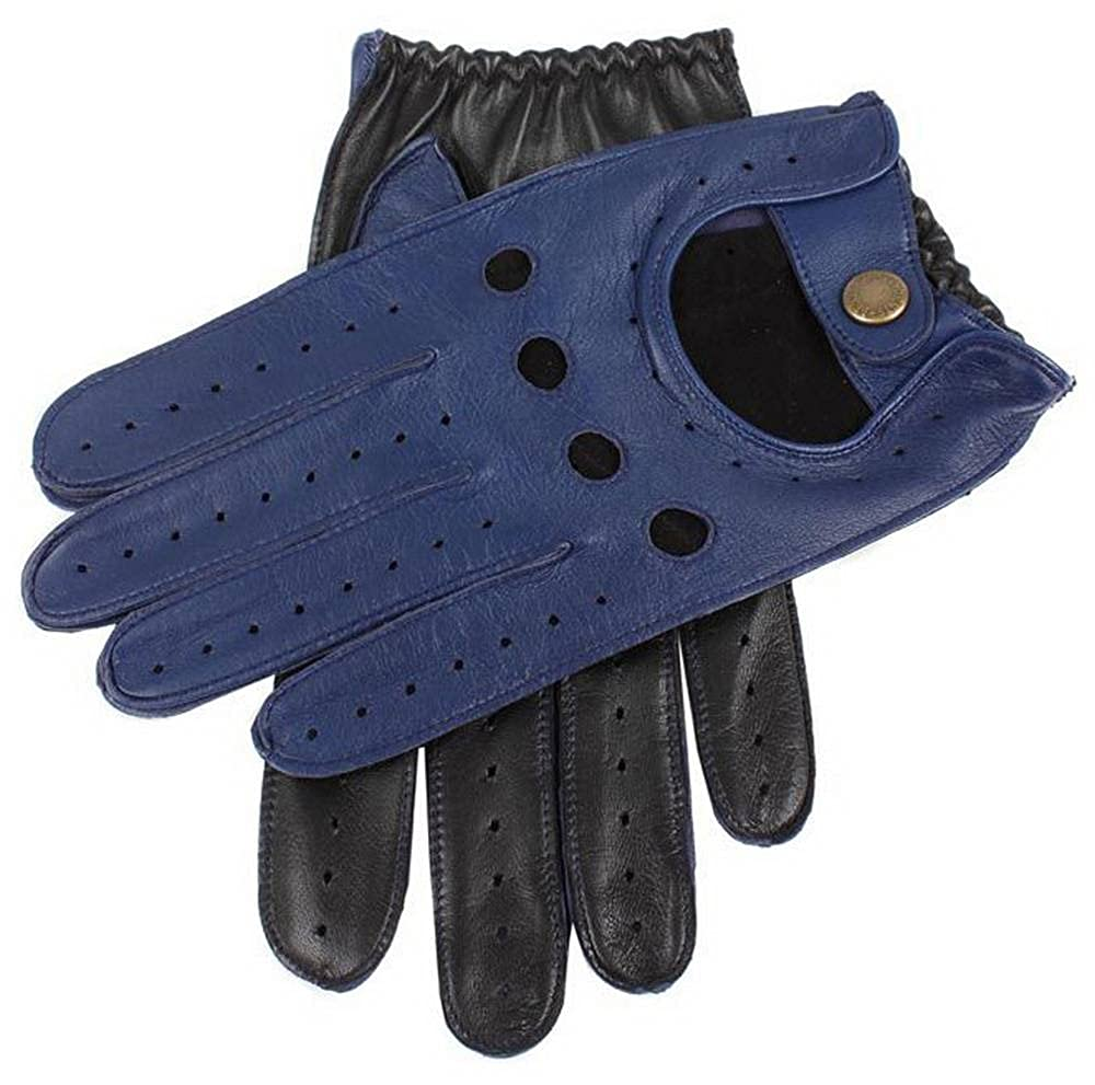 Royal Blue//Black Dents Mens Two Tone Leather Driving Gloves
