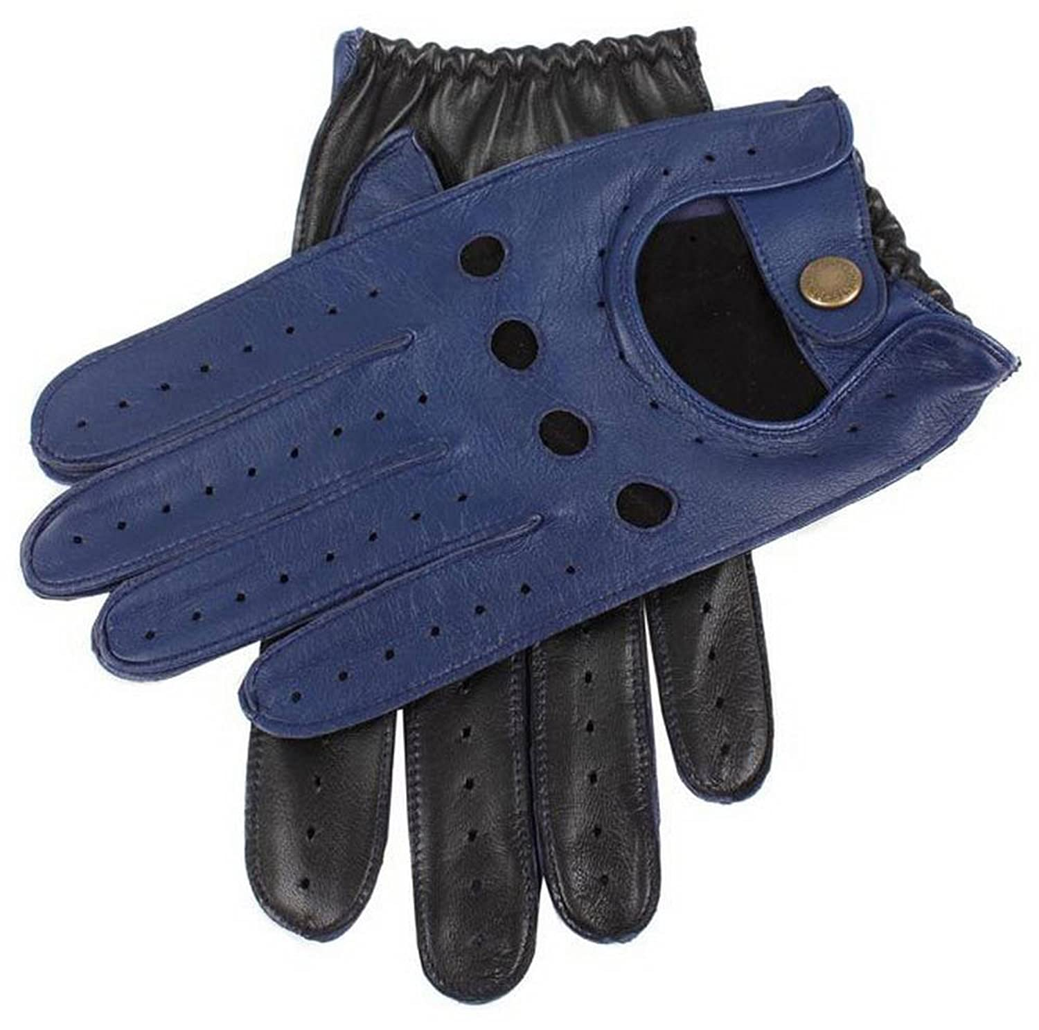 Mens leather gloves dents - Royal Blue Black Two Tone Leather Driving Gloves By Dents Medium At Amazon Men S Clothing Store