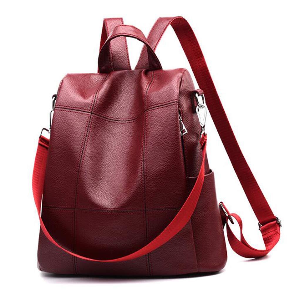 Women Backpack Purse Waterproof PU Leather Anti-theft Rucksack Fashion School Shoulder Bag Wine