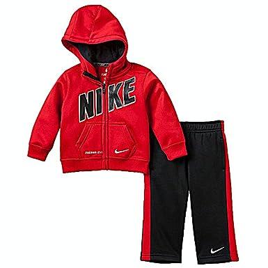 Nike bebé Boys Therma-fit 2 Piezas Chándal, Rojo/Negro: Amazon.es ...