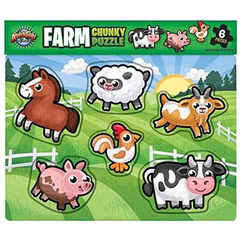Chunky Pig Farm - Farm Chunky Kids Fun Puzzle - Livestock Barn Land Domestic Ranch Animals, Pig, Lamb, Cow, Horse Party Favor - Easy Educational Developmental Skills Toys for Little Girls Boy Toddler (6 Pieces)