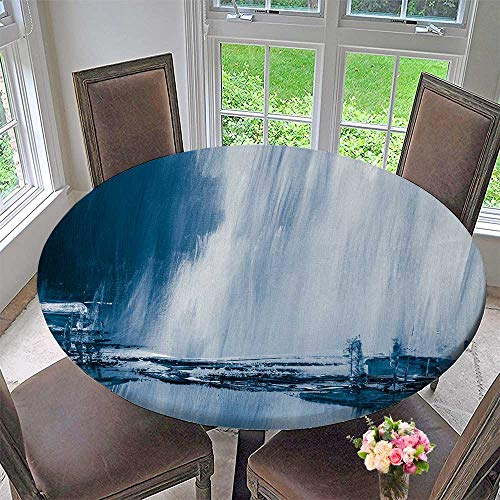 Round Polyester Tablecloth Table Cover Blue Painted Background Wallpaper Texture for Most Home Decor 59