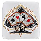 18 Inch 6-Sided Cube Ottoman Four of a Kind Poker Spade