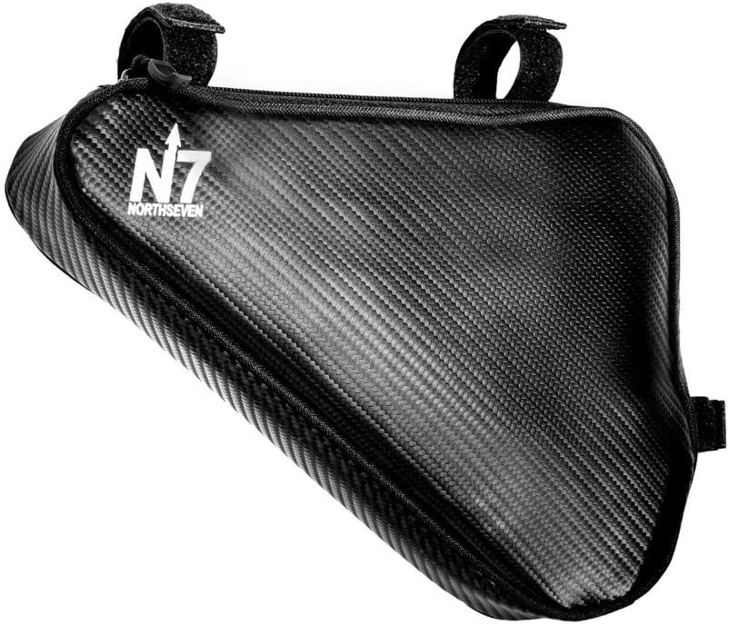northseven Carbon Triangle Frame Bag – 100 Waterproof Lightweight for MTB and Road Cycling Adjustable Non-Scratch Velcro Design Holds Large Cell Phones, Wallets, Gels, Tools and More