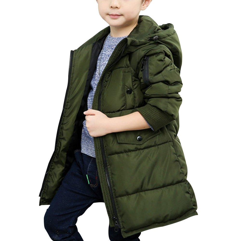 Mesinsefra Boys' Winter Hooded Fur Long Down Coat Jacket Army Green 140cm