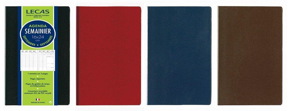 Lecas 1 AGENDA LECAS CLASSIQUE 16x24 cm - 1 Semaine sur 2 Pages - Sept 2018 à Sept 2019 - Coloris Aléatoires 400079946