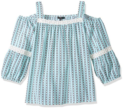 My Michelle Big Girls' Printed Long Sleeve Cold Shoulder Top with Crochet, Mint, XL (Michelle Clothes My)