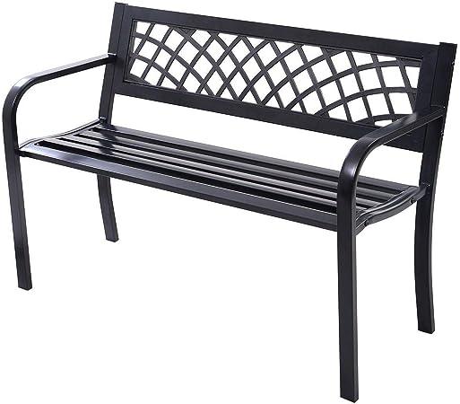 Tidyard Outdoor Patio Garden Bench With Steel Frame Park Bench Porch Chair Yard Furniture Patio Lawn Garden Kolenik Patio Furniture Accessories