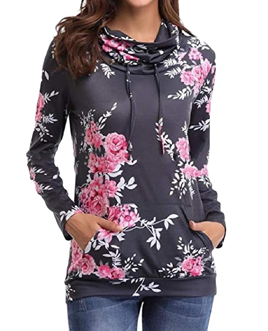 YUNY Women Long-Sleeve Floral Printed Pullover Tunic Hoodie Sweatshirts Black S